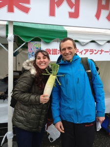 Me, Simon and an enormous radish - otherwise known as daikon.